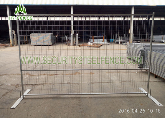 China Electric Galvanized Temporary Fence Panels 6 ' × 9.5 '  Square Tube With Metal Base supplier
