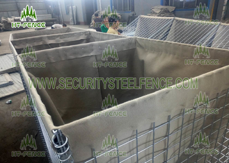 China Galvanized Steel Welded Gabion Box , Flat Surface Military Sand Gabion Wall Mesh supplier