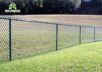 China Green PVC Coated Steel Chain Link Fence 2.5 / 3.5mm Wire For Residence Security supplier