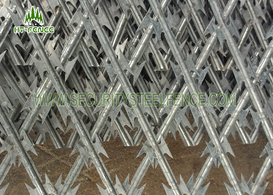 China Security Concertina Razor Wire Mesh Fence For Highway / Railway Protection supplier