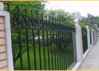 China Ornamental Pressed Spear Fence Panels Black Powder Coated For Institutions / Sports Stadiums supplier
