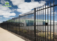 Black Spear Top Fencing With 17pcs Pickets , Powder Coating Spear Top Gate