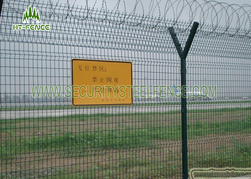 Airport Security Welded Mesh Fence / 3D Panel Fence With 50 × 200mm Hole