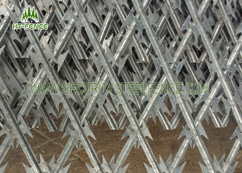 Security Concertina Razor Wire Mesh Fence For Highway / Railway ...
