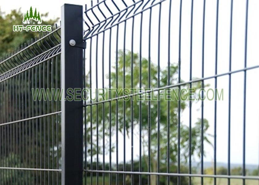 3D PVC Coated Green Security Steel Fence , 5 0mm Wire Mesh Fence Panels