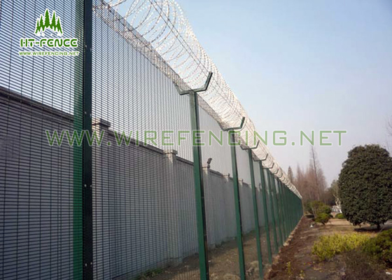 China 2.4m Height Security Steel Fence 4.0mm Wire PVC Coated For Towder Station factory