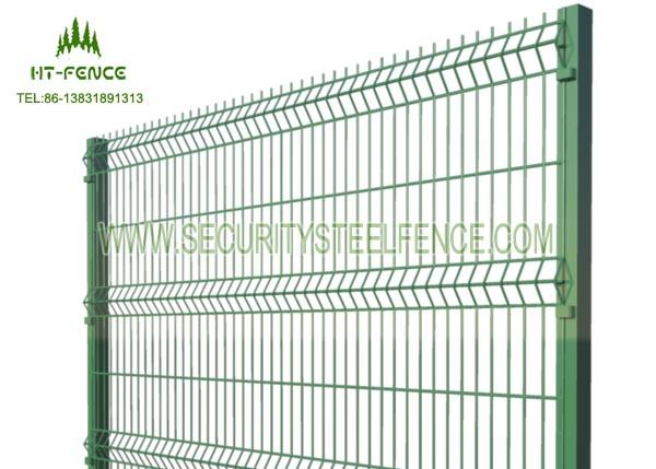 Round Post Security Welded Mesh Fence Anti - Cutting With Plastic Clamps Fixed
