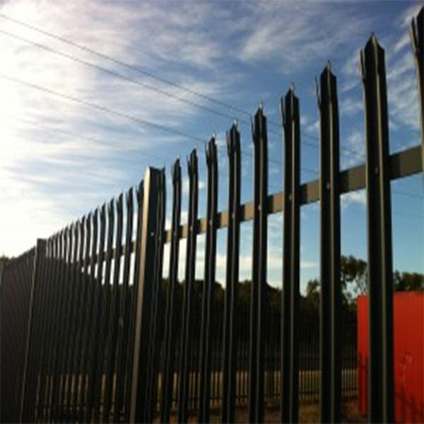 Powder Coated Palisade Security Gates , Galvanised Palisade Fencing Green Color