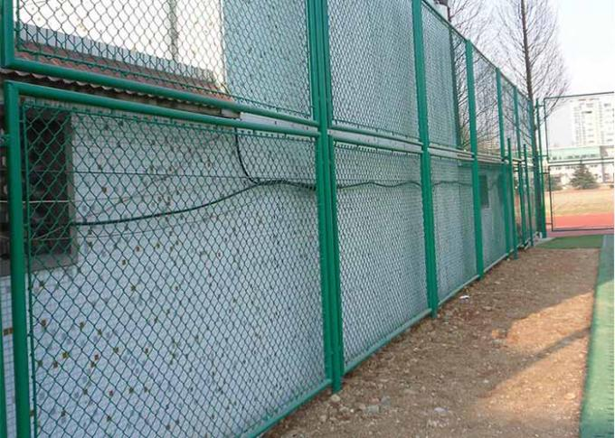 Hot Dipped Galvanized Steel Chain Link Fence For Railway Woven Diamond Pattern